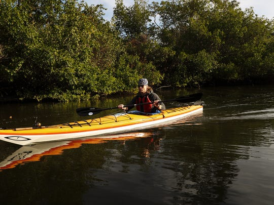 Dr. Dirk Rohrbach heads down the Estero River at the start of his 100 mile long journey along the Great Calusa Blueway.