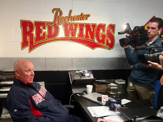 """Wings manager Mike Quade during his season-ending clean out with media. His team missed out on wild-card playoff spot on tiebreaker with Lehigh Valley. """"I was proud of all of them,'' he said of his players. """"I know I was extremely happy we won yesterday.''"""