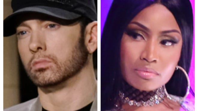 "When a fan asked Nicki Minaj, right,  on Instagram if she was dating Eminem, left, she replied ""Yes!"""