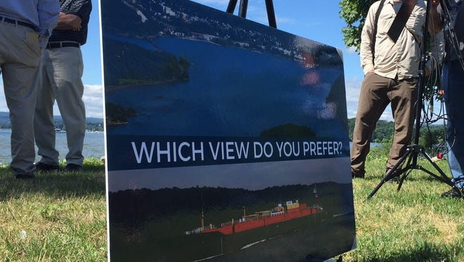 A poster at Cortlandt Waterfront Park in Verplanck  opposing a plan to set up 10 Hudson River anchorages.