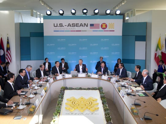 President Barack Obama, center, speaks at the plenary session meeting of ASEAN at the Annenberg Retreat at Sunnylands in Rancho Mirage, Calif., Monday, Feb. 15, 2016.