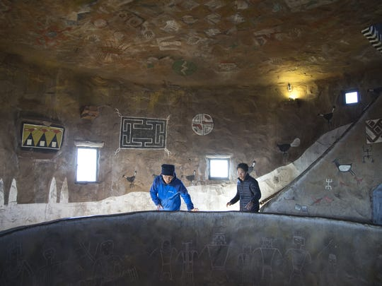 The interior of Desert View Watchtower at Grand Canyon
