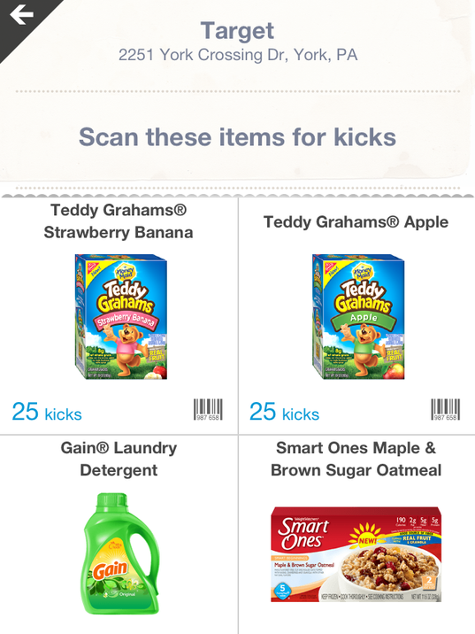 Then, you have a list of items to scan for your points. Some of them are harder to find than others.