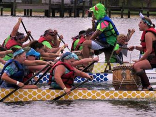 Dragon boat teams compete during a previous Pensacola Dragon Boat Festival.