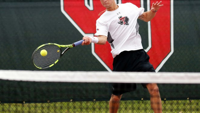 Texas Tech's Connor Curry, competing in the 2017 Big 12 Men's Tennis Championship, at the Headington Family Tennis Center in Norman. Curry, a junior from Wichita Falls, qualified for the NCAA Championships in doubles.