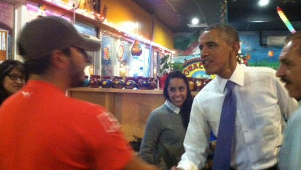 President Barack Obama greets patrons at La Hacienda restaurant on Nolensville Pike.