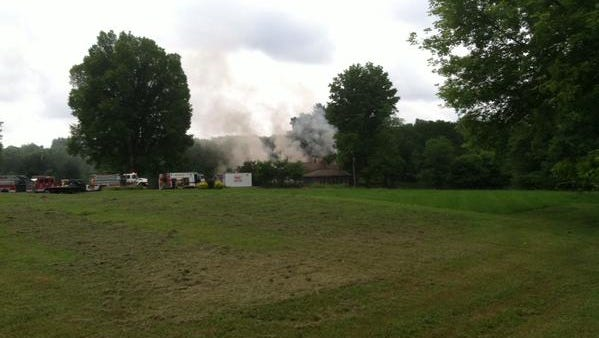 Crews are battling a fire on the 1700 block of Hankinson Road in Granville Township.