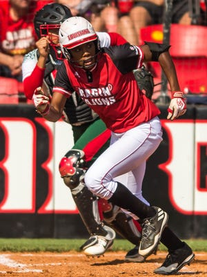 UL shortstop DJ Sanders (37) delivers a single for the Cajuns during the 19-0 win over Mississippi Valley State on Sunday at Lamson Park.