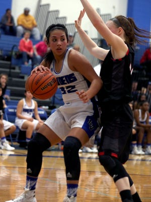 Lake View's Bri-Anna Soliz works for a shot against Lubbock Cooper in District 4-5A play in 2015.