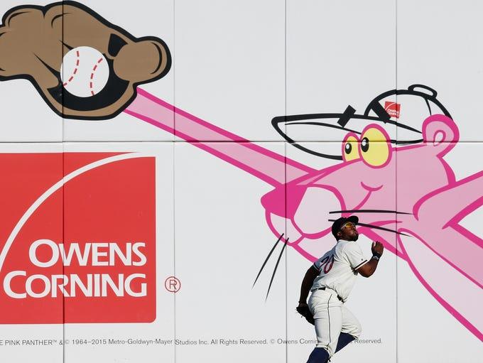 Toledo Mud Hens outfielder Christin Stewart chases