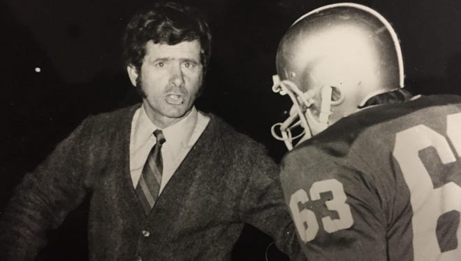 Anthony Merola, shown here coaching the Cardinal Mooney team, was inducted into the Section V Football Hall of Fame in 2008.