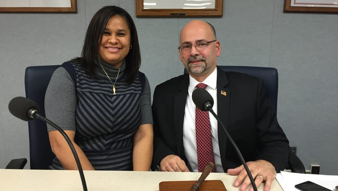 The newly appointed leaders for the Vineland Board of Education are President Scott English (left) and Vice President Diamaris Rios. Rios, who was re-elected in November, began her third term Wednedsay.