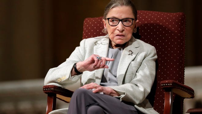 FILE - In this Feb. 6, 2017 file photo, Supreme Court Justice Ruth Bader Ginsburg speaks at Stanford University in Stanford, Calif. The Supreme Court says Ginsburg has died of metastatic pancreatic cancer at age 87.
