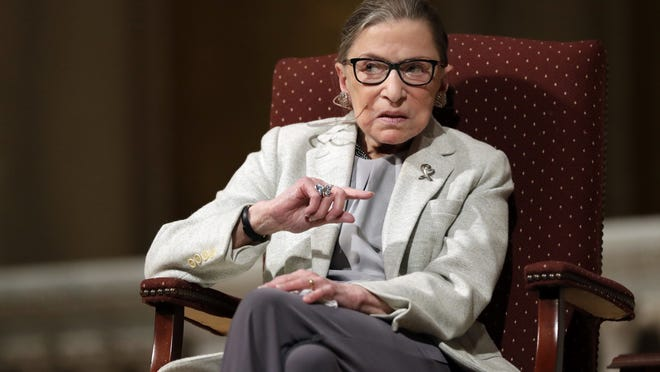 In this Feb. 6, 2017 file photo, Supreme Court Justice Ruth Bader Ginsburg speaks at Stanford University in Stanford, Calif. The Supreme Court says Ginsburg has died of metastatic pancreatic cancer at age 87.