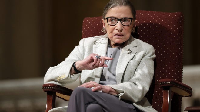 In this Feb. 6, 2017, photo, Supreme Court Justice Ruth Bader Ginsburg speaks at Stanford University in Stanford, Calif. The Supreme Court says Ginsburg has died of metastatic pancreatic cancer at age 87.