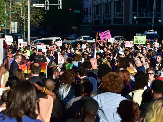 Hundreds of protestors gathered Monday on Capitol Street in front of the Governor's Mansion to show their opposition of HB 1523.