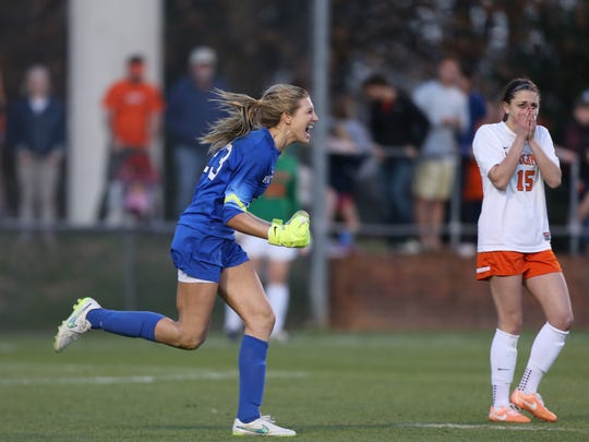 Rutgers goalkeeper Casey Murphy was the star of the Elite Eight victory against Virginia.
