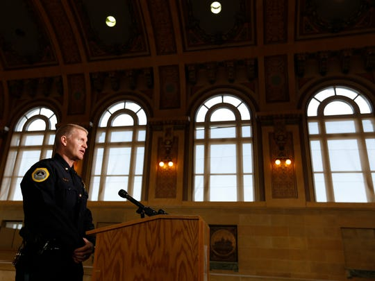 Maj. Dana Wingert takes questions from members of the media Wednesday, Feb. 4, 2015, at city hall as he is introduced as City Manager Scott Sanders' choice for the new police chief for the City of Des Moines.