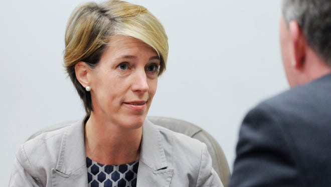 Democratic gubernatorial candidate Zephyr Teachout meets with the Poughkeepsie Journal editorial board Wednesday.
