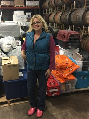 Teri Tuttle delivered items collected at wineries in the Willamette Valley on Wednesday, Oct. 18, to victims of the Northern California wildfires.