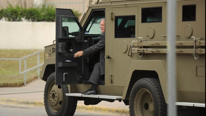 Abilene Mayor Norm Archibald wasn't in trouble Tuesday evening, he was just arriving for his mayoral retirement reception in the police department armored vehicle at the Abilene Convention Center.