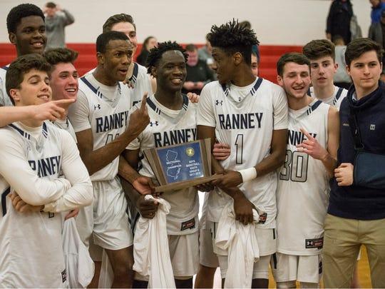 Ranney celebrates the win. Ranney vs Trenton Catholic