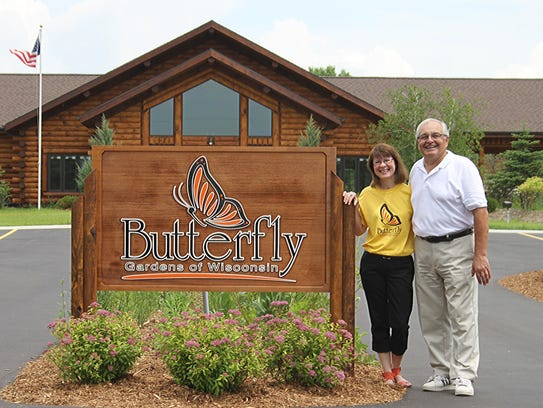 Marty and Jack Voight at their Butterfly Gardens of