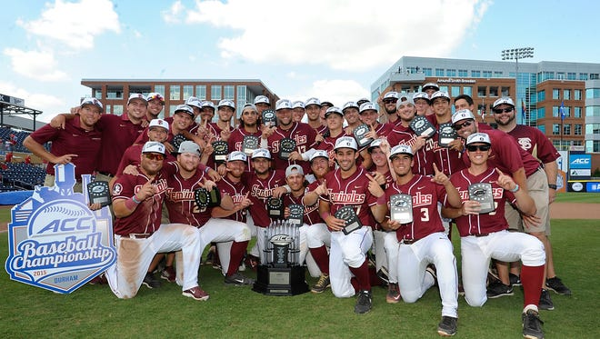 Florida State celebrates winning the 2015 ACC Baseball Championship in Durham, N.C., Sunday, May 24, 2015.