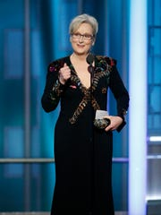 This image released by NBC shows Meryl Streep accepting the Cecil B. DeMille Award at the 74th Annual Golden Globe Awards at the Beverly Hilton Hotel in Beverly Hills, Calif., on Sunday, Jan. 8, 2017.