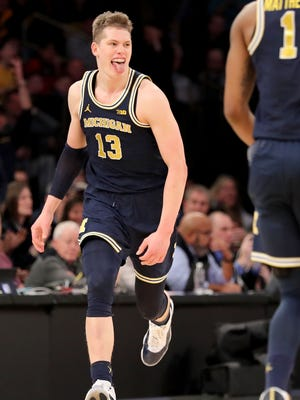 Moritz Wagner of the Michigan Wolverines reacts in the second half against the Michigan State Spartans during semifinals of the Big Ten Basketball Tournament at Madison Square Garden.