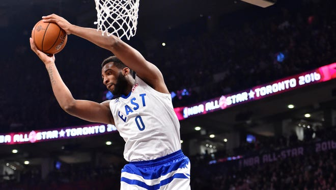 Eastern Conference center Andre Drummond of the Pistons rebounds against Western Conference guard Chris Paul of the Los Angeles Clippers in the first half of the 2016 NBA All Star Game at Air Canada Centre in Toronto on Feb 14, 2016.