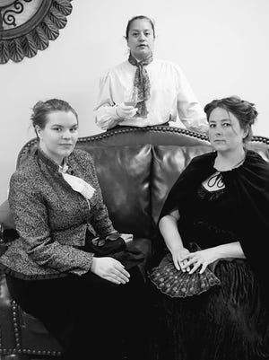 Cast members of the period one-act comedy pictured are HaDith, Carrie Scifres, and Rose Atchley as actresses coming to grip with issues as they prepare to perform.