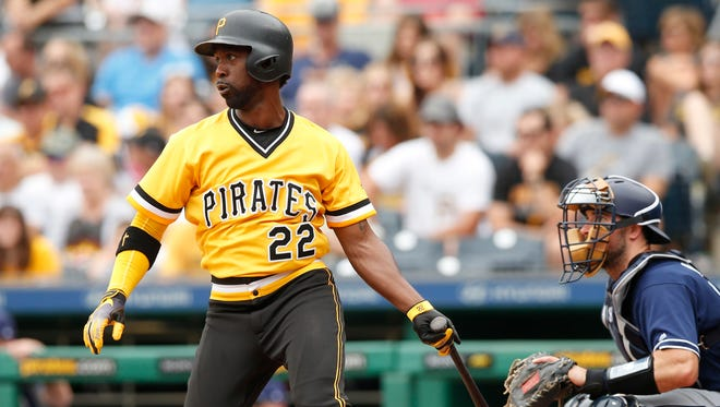 Pirates centerfielder Andrew McCutchen hits an RBI single in the third inning against the Padres in Pittsburgh, Aug. 6, 2017.