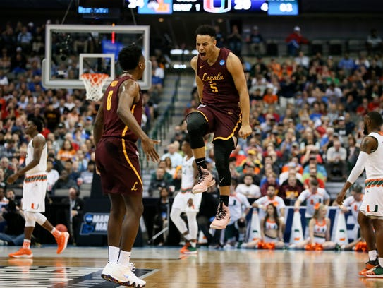 Loyola (Il) Ramblers guard Marques Townes (5) celebrates