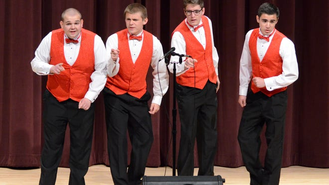The 4 Tenors Quartet from Manitowoc Lutheran High School, second-place finishers in the third annual Wisconsin High School Barbershop Quartet Festival, held at Silver Lake College in Manitowoc.