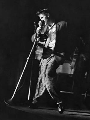 Elvis Presley performs in Jacksonville on August 10, 1956. Photo courtesy of the Florida Theater, Jacksonville.