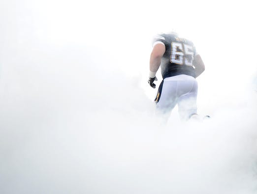 San Diego Chargers' Chris Watt takes the field against the Arizona Cardinals during their NFL preseason game at Qualcomm Stadium on Aug. 28, 2014, in San Diego, Calif.