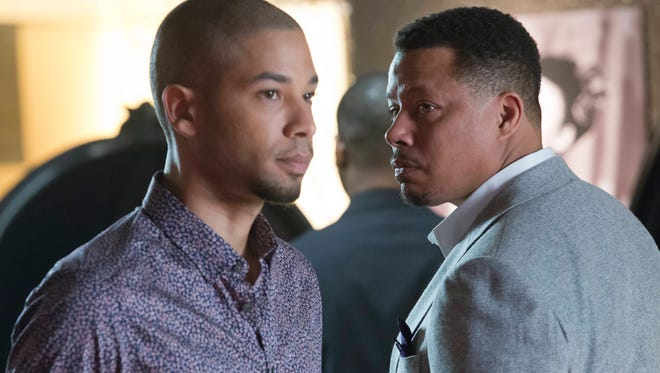 Lucious (Terrence Howard, R) and Jamal (Jussie Smollett, L) in the  Season Finale episode of Empire.
