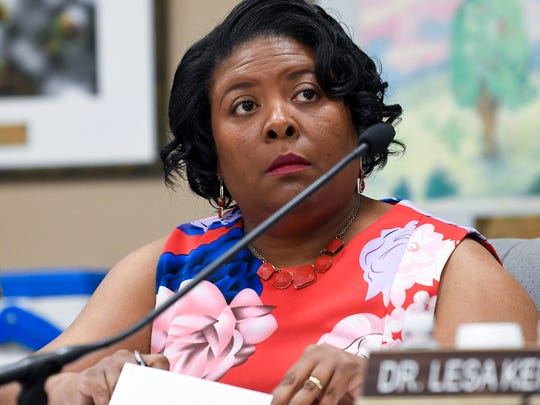 Montgomery School Board member Arica Watkins-Smith looks on as AdvancEd presents its findings to the Montgomery School Board in Montgomery, Ala. on Wednesday May 30, 2018.