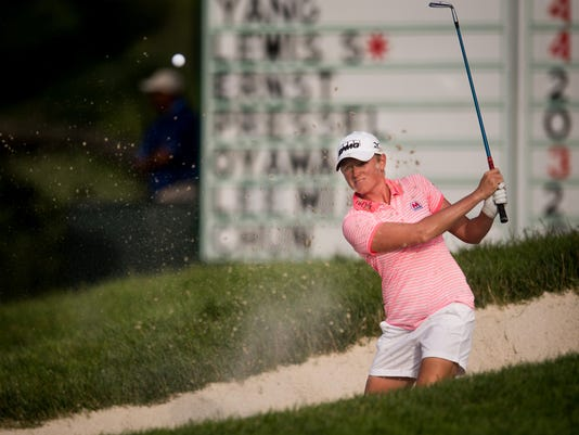 Stacy Lewis hits out of a bunker on the 8th hole during the second round of the U.S. Women's Open Championship at Lancaster Country Club on Friday, July 10, 2015. Lewis finished the round tied for second place. Jeff Lautenberger Ñ For The Daily Record/Sunday News
