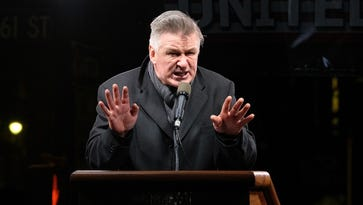 Alec Baldwin speaks onstage during the We Stand United NYC Rally outside Trump International Hotel & Tower on Jan. 19.