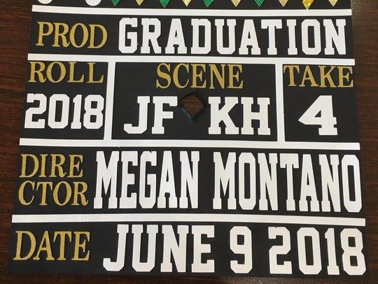 The top of Megan Montano's graduation cap.
