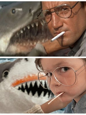 "Alex Zane of Hingham and a friend, Andrew Kelly, stage and Photoshop iconic shots like this one from ""Jaws"" into kid-friendly creations with Zane's daughter, Matilda, 5. Image from Alex Zane."