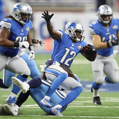 Detroit Lions receiver Andre Roberts (12) is tackled