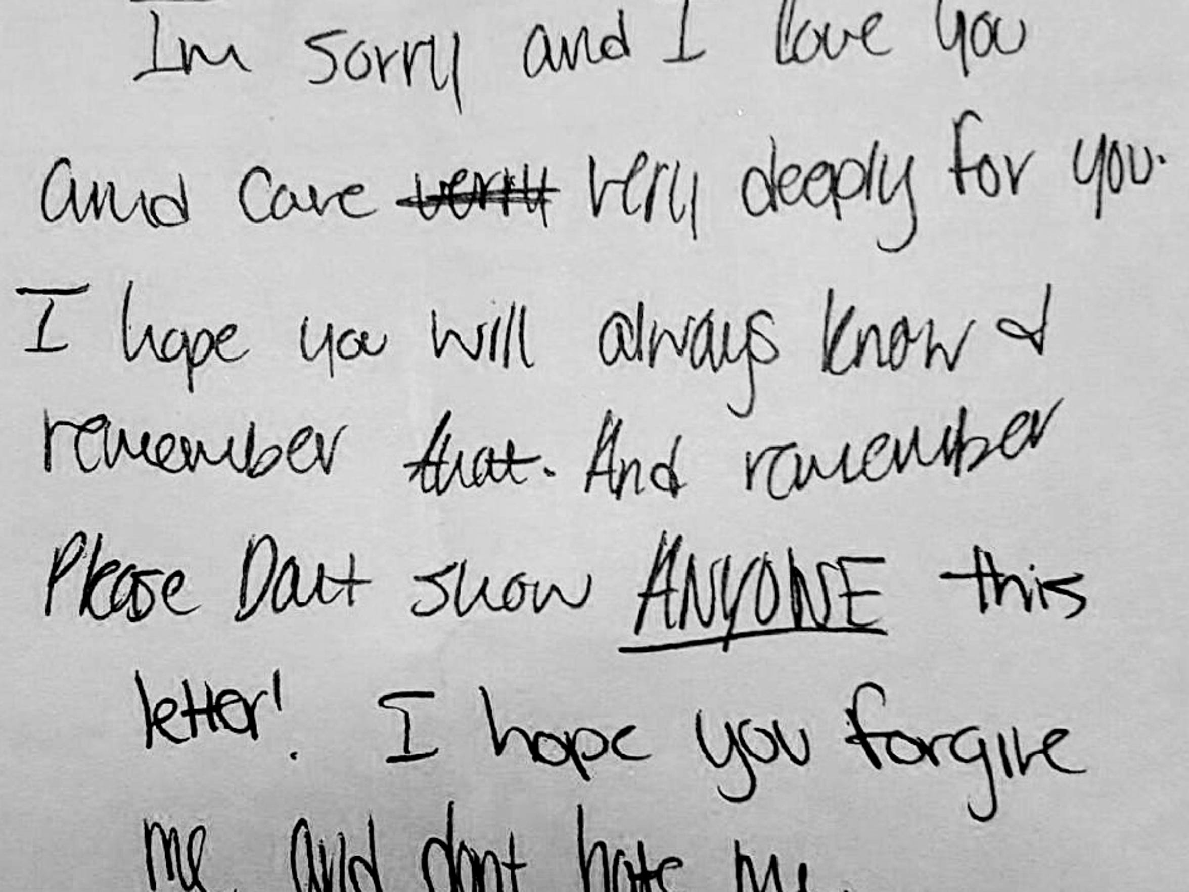 The note on the outside of a letter that 15-year-old K.G. (not her real initials) wrote to her 29-year-old predator.