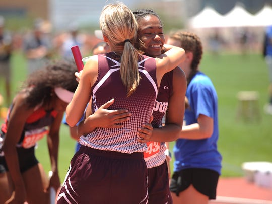 Seymour's Kelsey Kinnibrugh (left) celebrates with