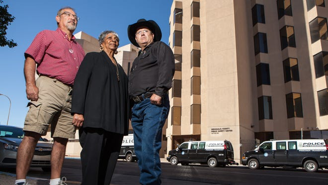 From left, Mike Gomez, Jewel Hall and Kenneth Ellis are Albuquerque activists against deadly police force. Ellis and Gomez both have a son who was killed by police.