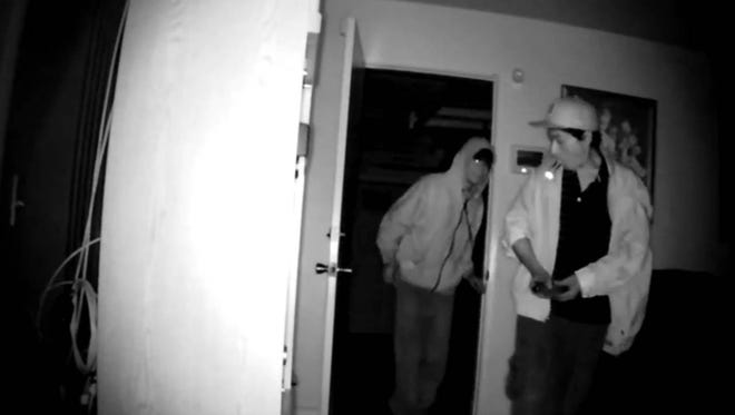 A screen shot of two men accused of taking items from a house in the 300 block of Erica Place in Oxnard Sept. 15.