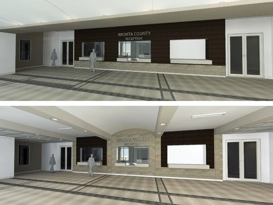 An architectural rendering created by HOK shows concepts for the reception area of the Wichita County Law Enforcement Center. Sheriff David Duke preferred the stone curved feature on the bottom rendering.