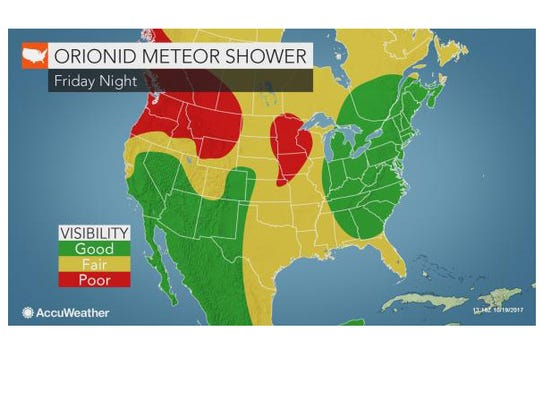 The best viewing for the Orionid meteor shower should